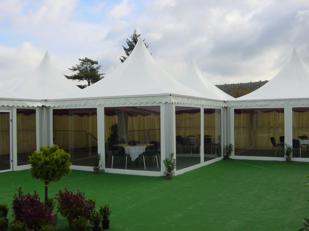 Multiple Pagoda tents with Scalloped Edge Roofs for Hospitality use