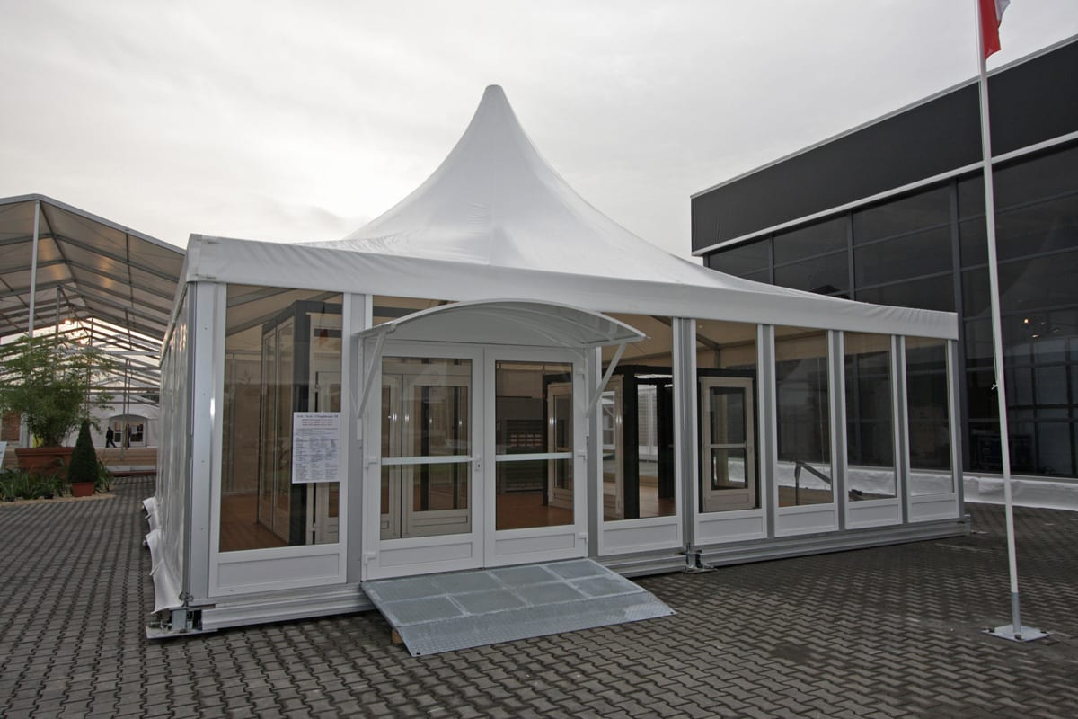 A Pagoda tent with sturdy access ramp and overhead canopy