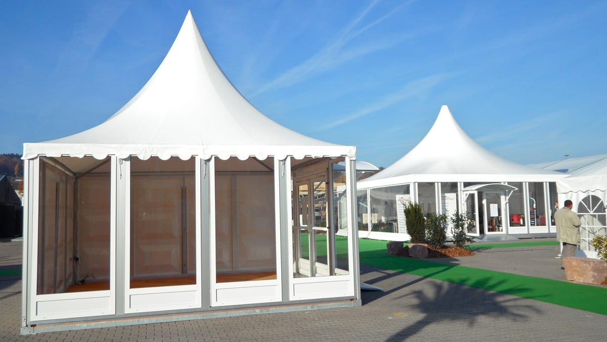 Our Pagoda tents with Scalloped Edge Roof Valance for use at events
