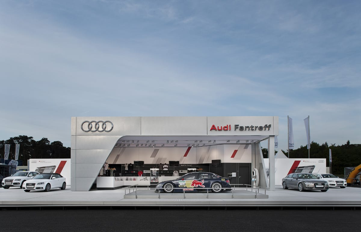 A striking custom event clear-span structure used for a motoring event