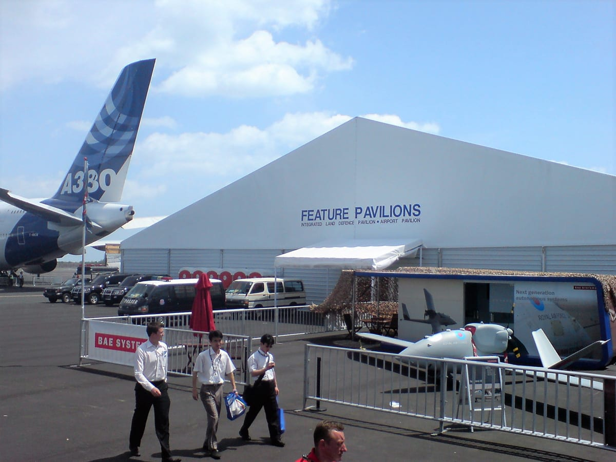 A HÖCKER F-Series large a-frame tent for an air show event