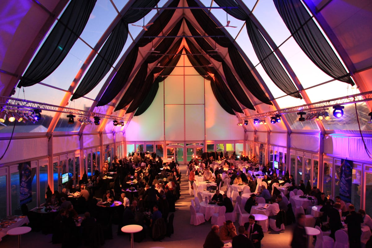 A HTS tentiQ GZ Cathedral large party tent being used for a wedding event