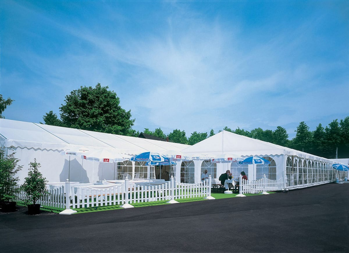 A Large temporary clear-span event structure for catering with an outside seating area