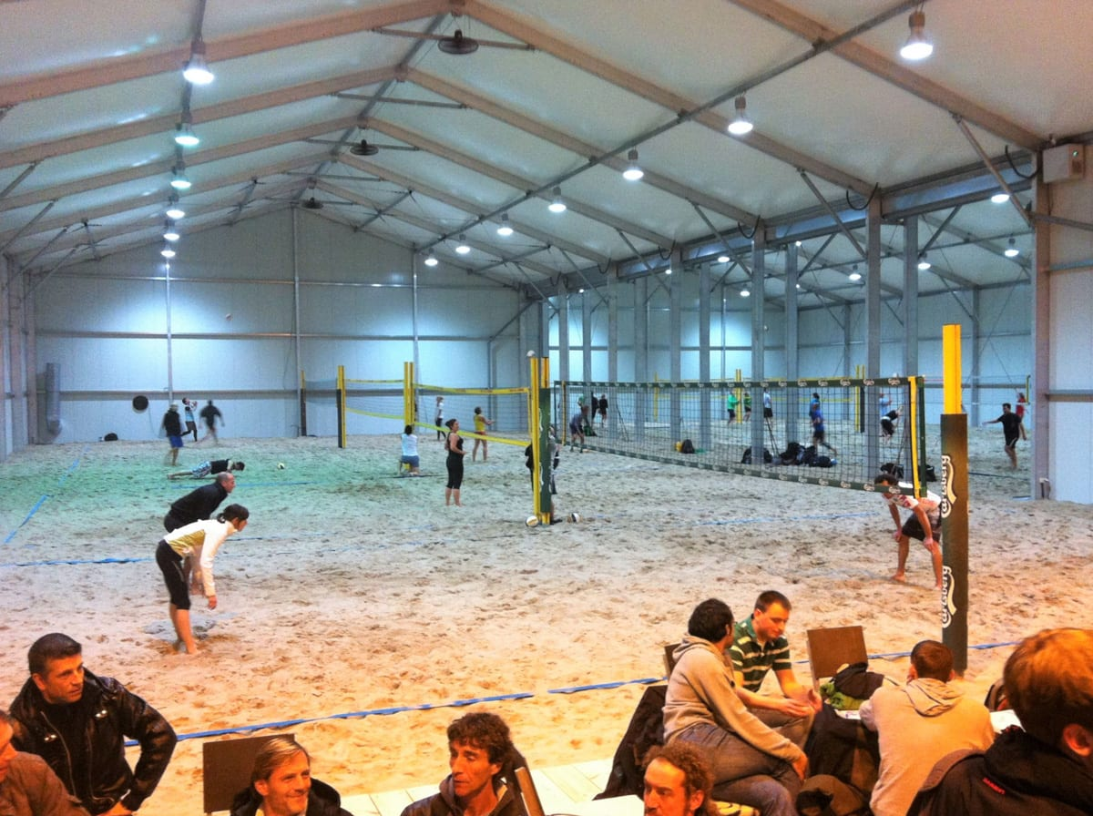 A Complete sports structure for an indoor beach volleyball court