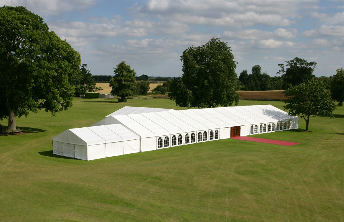 A Large clear-span event structure with a red carpet entrance